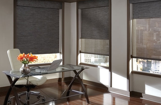 Roller shades in a home office