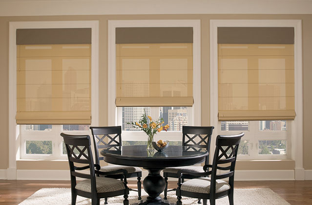Roman shades in a dining room