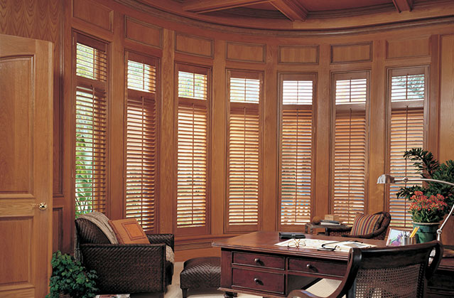 Wood shutters in a home office