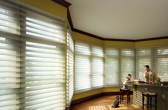 Privacy sheers on large kitchen windows