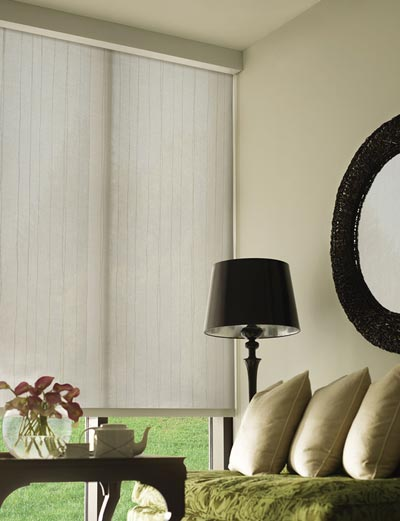 White roller shades